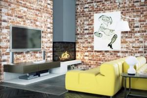 Декоративный камень, кирпич, кирпичная стена, модный стиль в дизайне